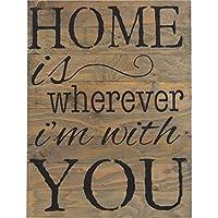 """ドラゴン Wood Pallet Design Wall Art Sign プラーク Home Is Wherever Im with You Wooden Pallet Sign Wall Decor 12"""" x 16"""""""