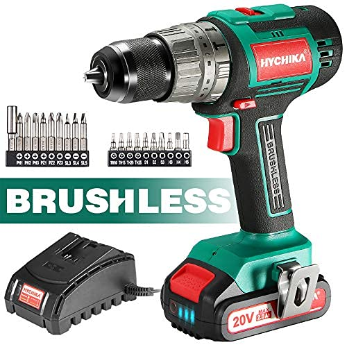 """Cordless Drill 20V Max, HYCHIKA Brushless Drill Max Torque 530 In-lbs, 2.0 AH Battery 1H Fast Charger, 21+3 Torque Setting 1/2"""" Automatic Chuck, 20pcs Drill Bit Set for Home Improvement & DIY Project"""