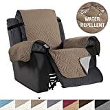 H.VERSAILTEX Recliner Cover Reversible Sofa Slipcover Furniture Protector Water Resistant 2 Inch Wide Elastic Straps Recliner Chair Cover Pets Kids Fit Sitting Width Up to 22' (Recliner, Taupe/Beige)