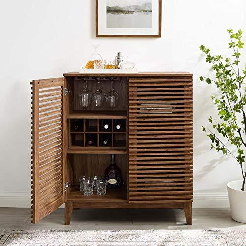 Modway Render Mid-Century Modern Bar with Wine Rack Storage Cabinet, Walnut