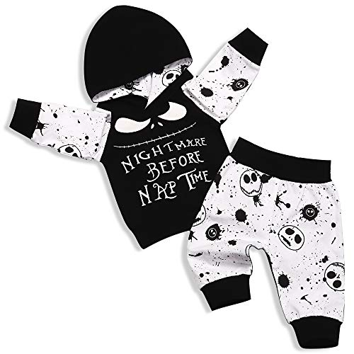 Xmas Toddler Baby Boys Girls Clothes Nightmare Before Naptime Hoodie Sweater and Skull Pants 2PCs Outfit Set