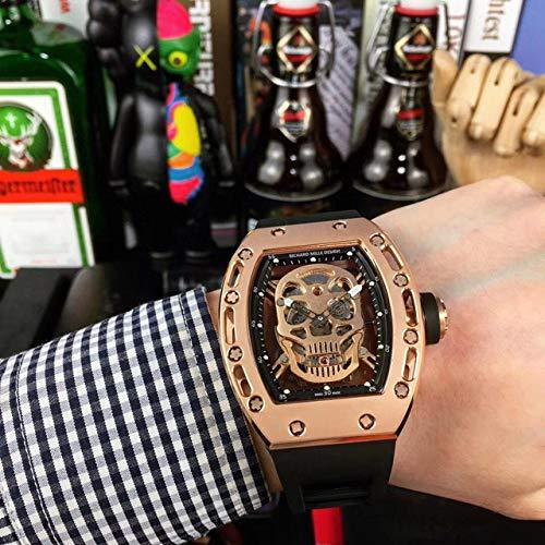 JKYIUBG Smartwatch, Top LuxusmarkeDesign Skeleton Uhr automatische mechanische Herren Armbanduhr Limitde Edition Schädelform Uhr Geschenk, 1