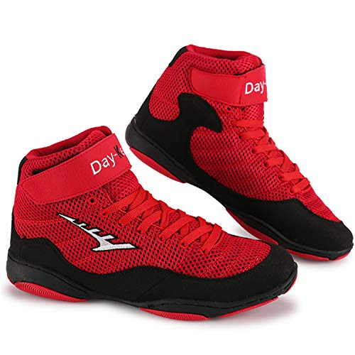 Funamee Men's Wrestling Shoes, Low Top Breathable Wrestling Shoes for Men, Youth, MMA Red