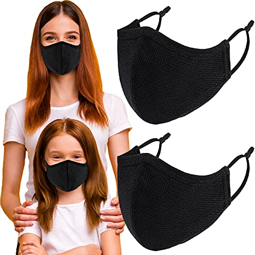 Pack 4 Face Protections Breathable 3-Ply for Women Small Face, Washable Reusable Soft Cloth, Adjustable Ear Loops Dustproof Nose Mouth Protection (Medium) 5.5x3.74 Inch