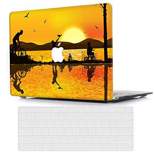 ACJYX Case Compatible with MacBook Air 13 inch (Models: A1369 & A1466, Older Version 2010-2017 Release), Plastic Protective Hard Shell Cover & Keyboard Cover Skin - Sunset