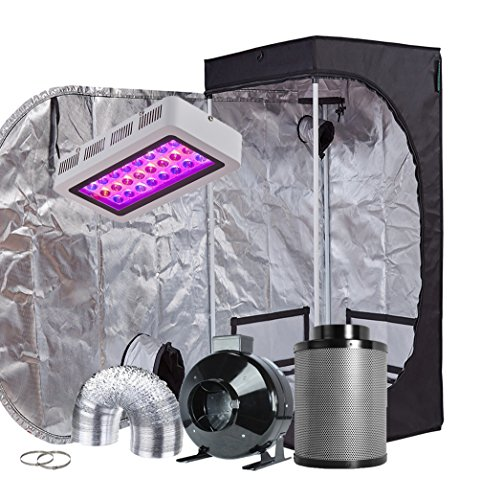 "TopoGrow LED Grow Tent Complete Kit LED 300W LED Grow Light Kit +24""X24""X48"" Indoor Grow Tent + 4"" Fan&Filter&Ducting Combo Hydroponics Tent System (LED 300W, 24""X24""X48""+4"")"