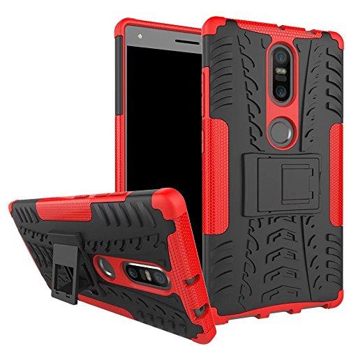 Sunrive Für Lenovo Phab 2 Plus, Hülle Tasche Schutzhülle Etui Hülle Cover Hybride Silikon Stoßfest Handyhülle Hüllen Zwei-Schichte Armor Design schlagfesten Ständer Slim Fall(rot)