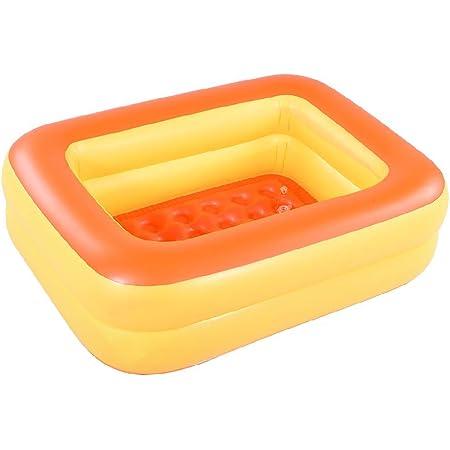 "HIWENA Inflatable Kiddie Pool, 45"" Orange Kids Swimming Pool Summer Water Fun Bathtub with Inflatable Soft Floor"