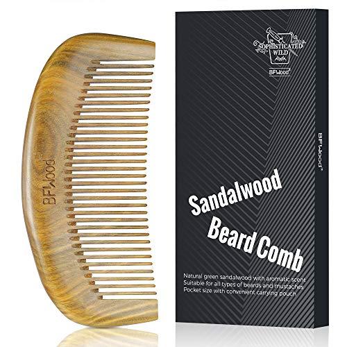 BFWood Pettine da Barba in Legno di Sandalo con Fragranza Naturale per Uomo, Tascabile, Districante per Barbe e Baffi