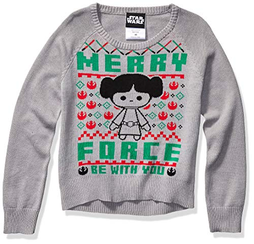 Star Wars Girls' Ugly Christmas Sweater, Leia/Grey, Medium (7/8)