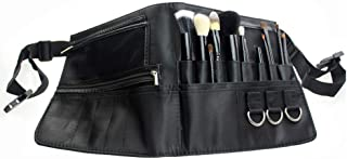 Frcolor メイクブラシポーチ 化粧筆ケース メイクウエストポーチ 化粧ポーチ PU 多機能 腰巻き 大容量 美容師 プロ 化粧ブラシポーチ ブラック