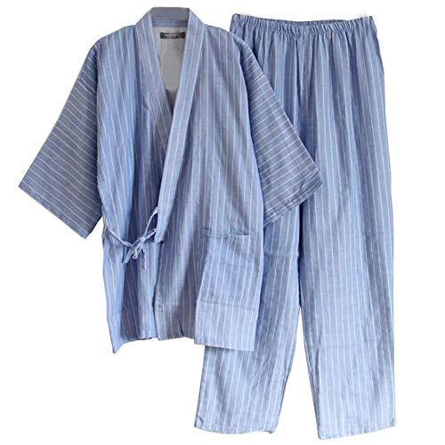 Männer Japanischen Stil Roben Doppel Gaze Baumwolle Kimono Pyjamas Anzug [Größe L, 02]