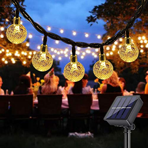 DeepDream Solar Lichterkette Aussen,40LED 7.5M Kristall Kugeln 8 Modi Warmweiß LED Solarbetriebene Lichterkette Wasserdicht Außen/Innen Beleuchtung für Garten, Bäume, Weihnachten, Hochzeiten, Partys