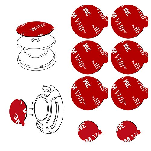 8pcs 3M Sticky Adhesive Replacement Parts for Socket Base, VOLPORT 1.38 Circle Double Sided Tape for Collapsible Grip Stand