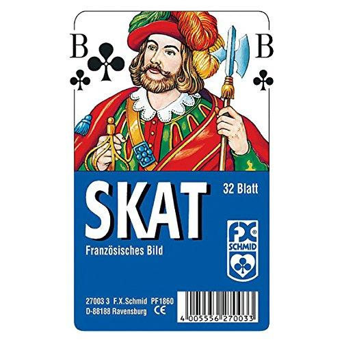 Ravensburger Spielkarten 27003 - Klassisches Skatspiel, Französisches Bild, 32 Karten in Klarsicht-Box