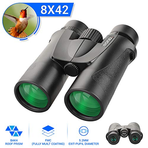 Eono by Amazon - HD Binoculars | 8x42 BAK4 FMC for Adults, Compact and Lightweight, for Wildlife Hunting Bird Watching Concert,with Case and Strap