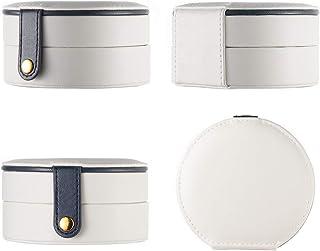 ZOBDX Multi-Layer Portable semi-Circular Jewelry Box Leather Stud Earrings Necklace Storage Box (Beige)