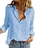 HOTAPEI Sky Blue Blouses for Women Casual V Neck Solid Color Womens Long Sleeve Blouses & Button-Down Shirts Tops and Blouse for Work 2021 Fashion Chiffon Shirts Medium