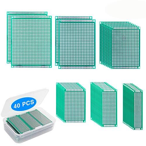 Yizhet 40 Stück Lochrasterplatte Lochrasterplatine Doppelseitig PCB Board Prototype 6 Größe, für DIY Löten und Elektronisches Projekt (2x8, 3x7, 4x6, 5x7, 6x8, 7x9CM)