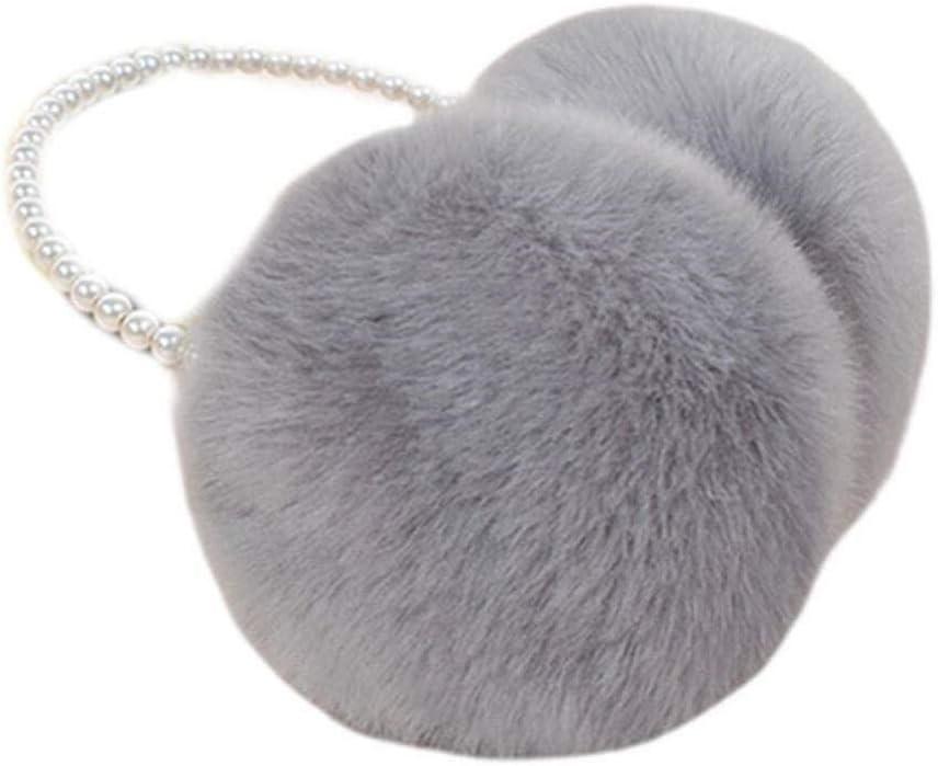 ZYXLN-Earmuffs ,Women Girls Winter Fluffy Plush Earmuffs Imitation Pearl Beaded Headband Cold Weather Earmuffs Earmuffs Winter Outdoor Earmuffs Warm Earmuffs (Color : Gray)