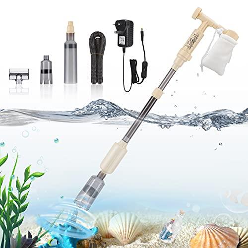 bedee Aquarium Mulmsauger Aquarium Sauger, 5-in-1 Elektrisch Aquarium Reinigungsset für Aquarien Algen/Kies/Schmutz Reinigung Wasserwechsel Aquarium Zubehoer(150CM Wasserleitung)