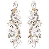 BriLove Wedding Bridal Clip On Earrings for Women Crystal Multi Marquise Filigree Flower Chandelier Dangle Earrings Clear Gold-Toned