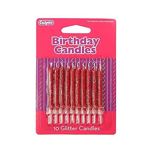 Culpitt 10 Red Glitter Candle, Single, 06DP659