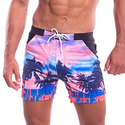 Taddlee Swimwear Men's Swimsuits Swim Boxer Briefs Square Cut Surf Bathing Suits(M) Pink