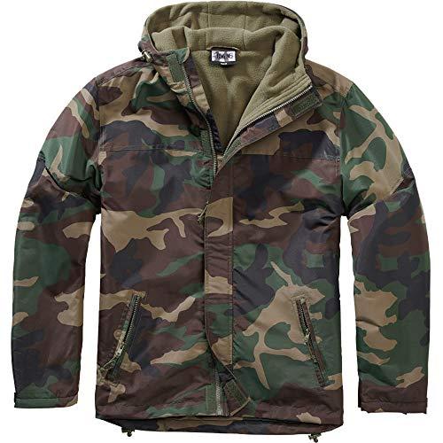BWuM Chaqueta cortavientos con cremallera para la lluvia, protección contra la humedad y el viento, chaqueta forrada, cremallera woodland XXXXXXL