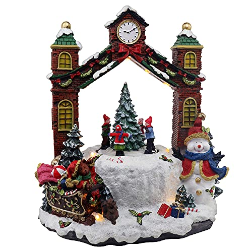 Christmas Village Clock Tower Animated Pre-lit Musical Winter Snow Village Perfect addition to your Christmas Indoor Decorations & Holiday Displays