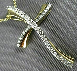 Million Charms 14K Two-tone Gold Small//Mini Religious Budded Cut-Out Crucifix 36mm x 18mm