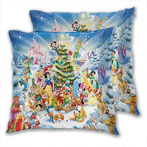 anzonto Funda de almohada personalizada de Navidad de varios personajes de cuento de hadas, fundas de cojín para niños y niñas, 40 x 40 cm, paquete de 2