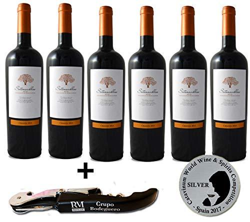 Vino tinto Crianza Rioja de la D.O.Ca. Rioja afrutado Sotonovillos pack regalo vino - 6 Botellas de 750 ml - Total: 4500 ml + Sacacorchos