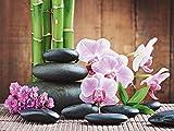 Artland Qualitätsbilder I Wandtattoo Wandsticker Wandaufkleber 40 x 30 cm Wellness Zen Stein Foto Pink Rosa A6MJ Spa Konzept mit Zen Steinen und Orchideen