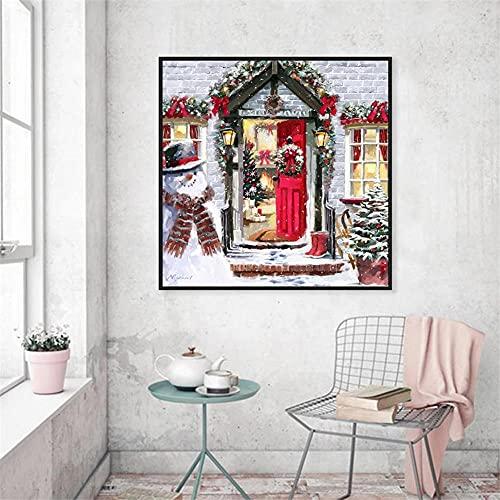 5D Diamond Painting Adulto/niño Muñeco de nieve de navidad,DIY Kit de Pintura de Diamante Completo Bordado punto de cruz Cristal Rhinestone Artesanía decor de la pared del hogar 30x30cm(12x12in)