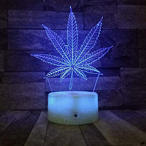 New Crack Base Foglie di canapa Led 3D Night Light Rgb Variabile Weed 3D Illusion Lamp Lampada da tavolo visiva ottica Room Decor per feste