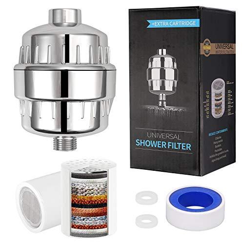CAMWAY 18-stufiger Duschfilter universal Wasser Filter Hartwasserfilter Wasserfilter, mit Extra-Ersatz Filter, entfernen Chlorid, Algen, Chloramin, Bakterien, Schwermetalle - Duschkopffilter