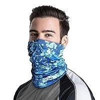 Palmyth Neck Gaiter Fishing Mask Bandana Sun Wind Dust Protection UV UPF 50+ Camo Headwear Balaclava Magic Scarf for Men Women Hunting, Cycling, Motorcycling, Running (Blue Camo)