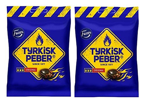 Fazer Tyrkisk Peber Original - Bolsa para caramelos de salado finlandés, salmiak, salmiakki, pimienta dura, 120 g, paquete de 2