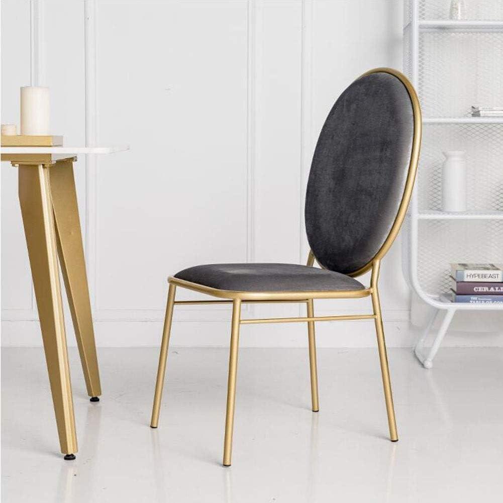DALL Chaises De Salle À Manger La Mode Moderne Chaise De Maquillage Pattes en Métal Chaise De Café Coussin Doux Chaise De Table Dossier 45x50x98cm (Color : Brown) Gray