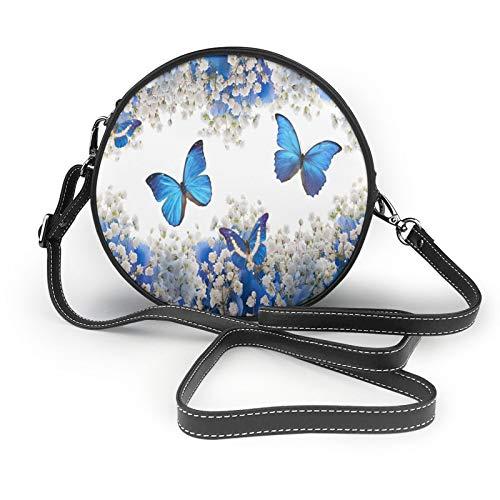 Hermosa flor y mariposas de mujer redonda cruzada cartera de cuero suave círculo cartera de moda