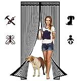 Cortina Mosquitera Magnética Puertas, Imanes Cierre Automático protección de Insectos Mosca Cortina, para Puerta de Balcón Sala de Estar Puerta de Patio-Black B||75x210cm(29x82inch)