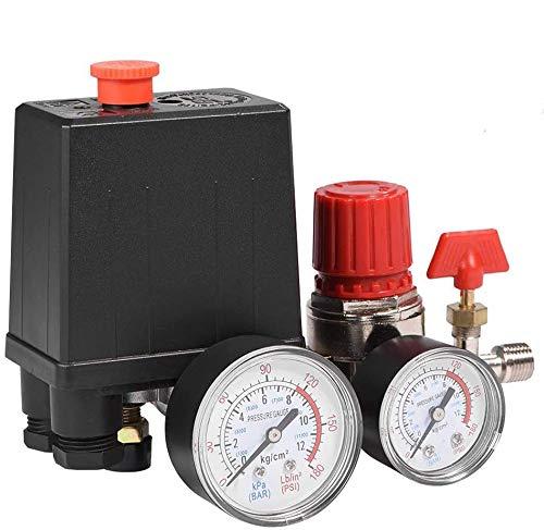 Válvula de presión de compresor de aire monofásico de 4 puertos, regulador de control con medidores para una rápida reducción de la presión