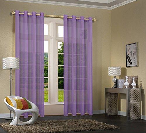 Uni -20332CN- 2er-Pack Lila Vorhang Transparent Gardinen Set Wohnzimmer Voile Vorhang Ösenvorhang HxB 245x140 cm mit Bleibandabschluß Lila