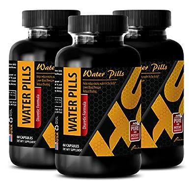 Weight loss diuretic - WATER PILLS (Diuretic Formula) - Natural water pills for weight loss suplement - Natural weight loss pills for men - 3 Bottles 180 Capsules