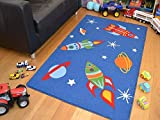 Rugs Supermarket Kids Non Slip Machine Washable Rockets Play Mat. Available in 3 Sizes (80cm x 120cm)