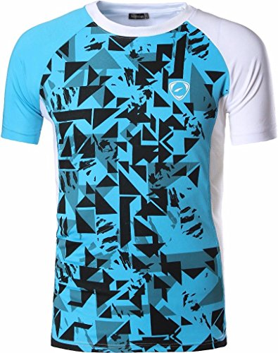 jeansian Herren Sportswear Quick Dry Short Sleeve Men\'s Tee T-Shirt Tops Tshirt LSL193 White L