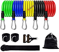 GOCART WITH G LOGO 9 pcs Resistance Band Set - with Door Anchor, Handles, Stackable Up to 80lbs - for Resistance Training, Physical Therapy, Home Workouts,GOCART WITH G LOGO