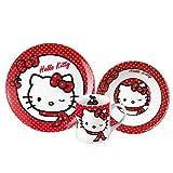 Hello Kitty Chicas Set desayuno, 3 piezas, porcelana - Blanco