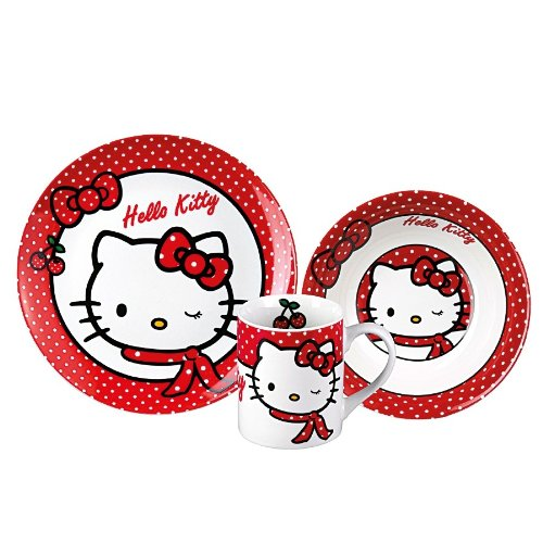 Kindergeschirr Kinder-Keramik-Set Hello Kitty, 3-tlg.